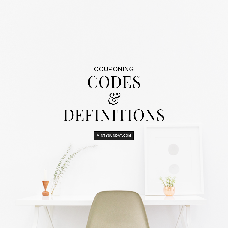 couponing codes and definitions