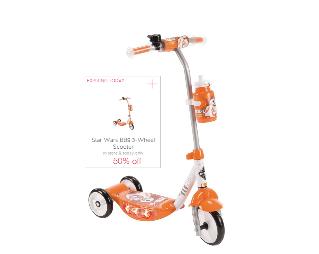 Huffy Star Wars BB8 Scooter - 3 Wheeled cartwheel offer