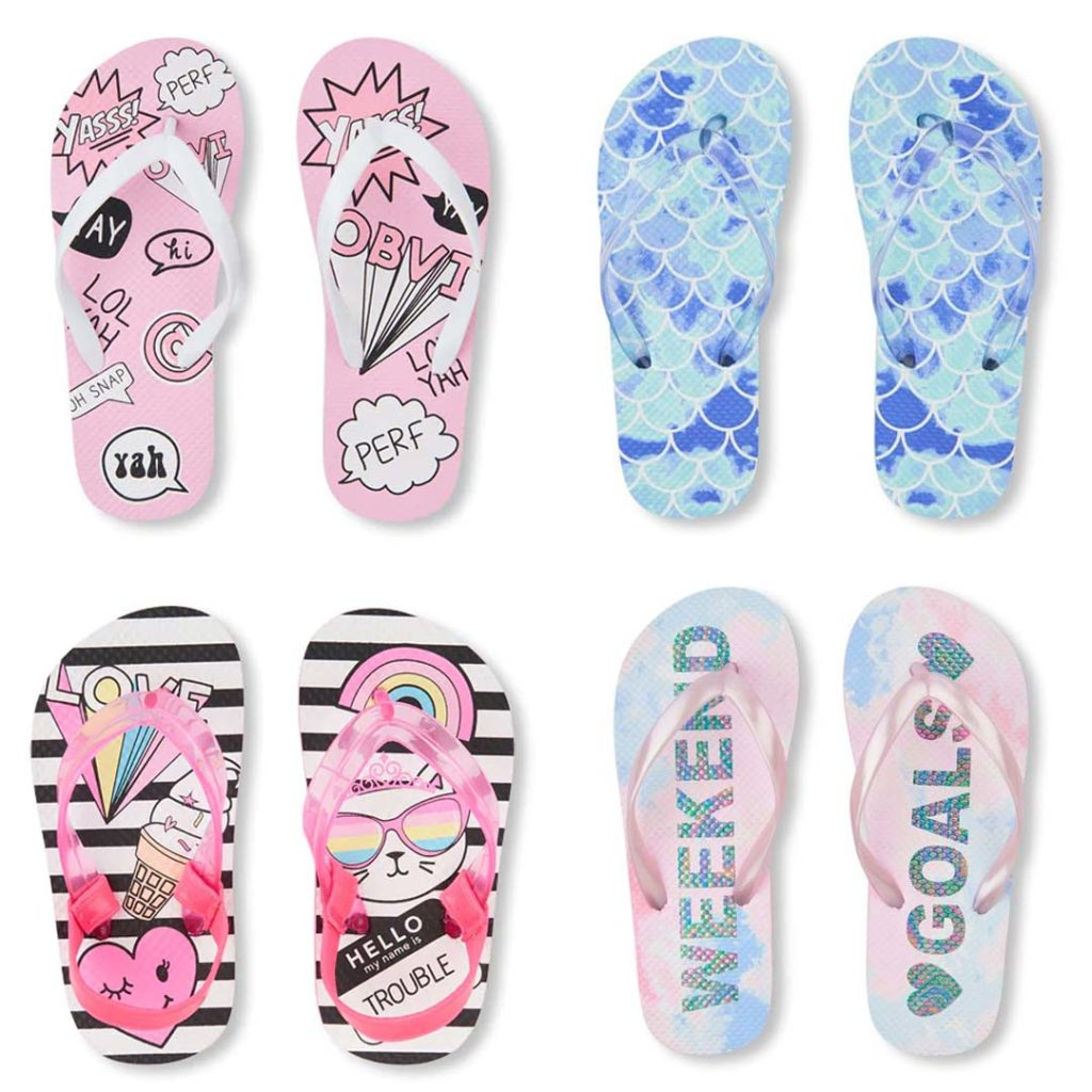 the childrens place girls flip flops