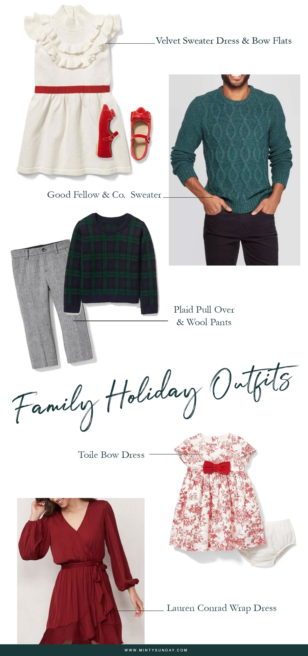 Coordinating Family Outfits for the holidays - How to easily create a coordinated family outfits for photos planned or spontaneous! (mintysunday.com) #mommyandme #familyoutfits #holidayphotos
