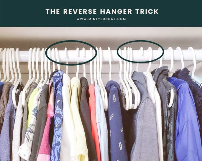 declutter and organize kids clothes reverse hanger trick