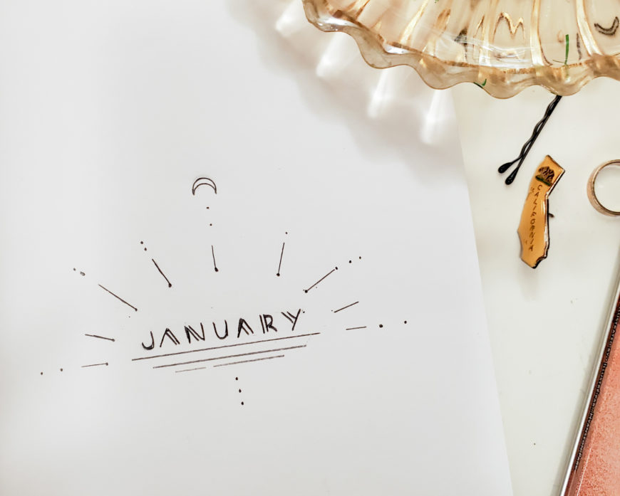 Bullet Journal Setup Step by Step January Cover -